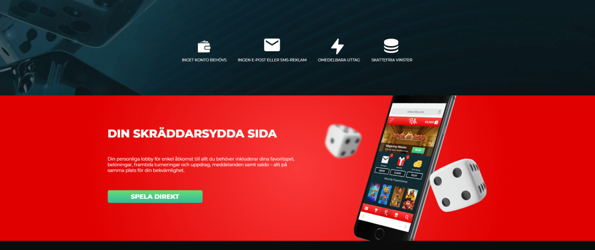 Rolla casino med dashboard